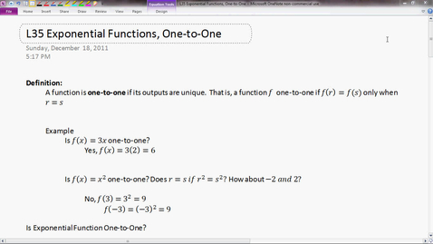 Thumbnail for entry Exponential Function, One-to-One