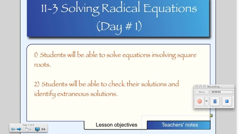 Thumbnail for entry 11-3 Solving Square Root Equations (Day # 1)