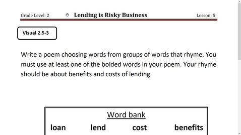 Thumbnail for entry Activity 7- Lending is Risky Business Poem