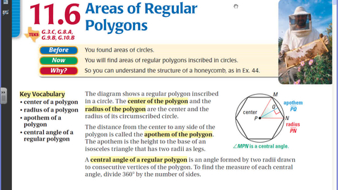 Thumbnail for entry 11.6 Areas of Regular Polygons.avi