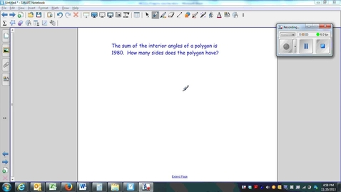 Thumbnail for entry Polygons Question 2, using the sum of interior angles
