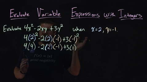 Thumbnail for entry How to Evaluate Variable Expressions with Integers | Minute Math
