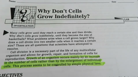 "Thumbnail for entry Biol Lab - ""Why Don't Cells Grow Indefinitley?"""