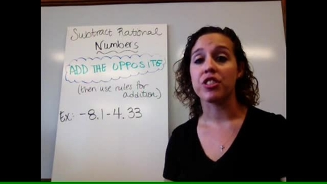 Thumbnail for entry Pre-Alg - Sect 1-8 Subtract Rational Numbers
