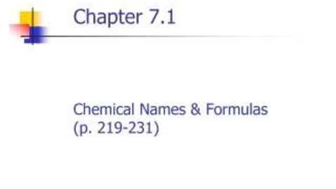 Thumbnail for entry Chemistry Chapter 7.1a