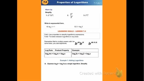"Thumbnail for entry Alg2C Lesson 7:4 ""Properties of Logarithmic - Part 1"""