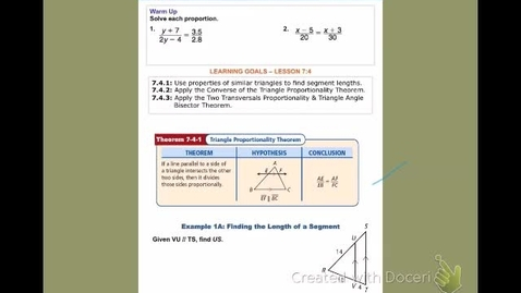 """Thumbnail for entry GeoB Lesson 7:4 """"Applying Properties of Similar Triangles"""""""