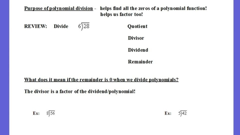 Thumbnail for entry Long Polynomial Division