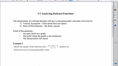 Thumbnail for entry 9.2 Analyzing Rational Functions