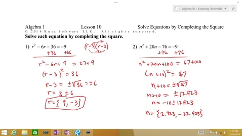 Thumbnail for entry Algebra 1B Lesson 10 #5-6