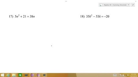 Thumbnail for entry Algebra 1B Lesson 09 #17-18