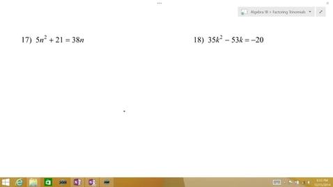 Thumbnail for entry Algebra 1B Lesson 09 #17-18