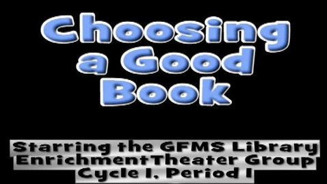 Thumbnail for entry How to Choose a Good Book