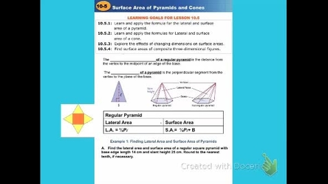 "Thumbnail for entry GeoB Lesson 10:5  ""Surface Area of Pyramids & Cones"""