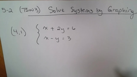 Thumbnail for entry 5-2 Math 13 (TSW 3) Solve Systems by Graphing