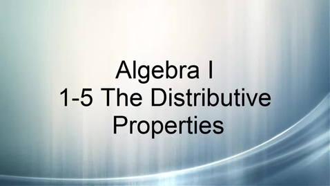 Thumbnail for entry Algebra I 1-5