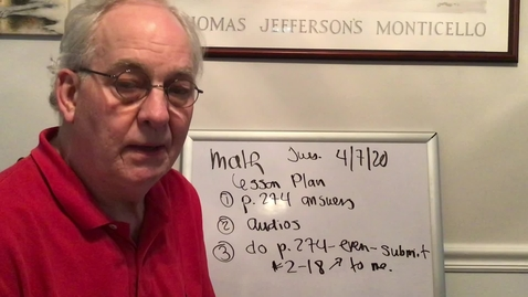 Thumbnail for entry John's math video - April 7, 2020