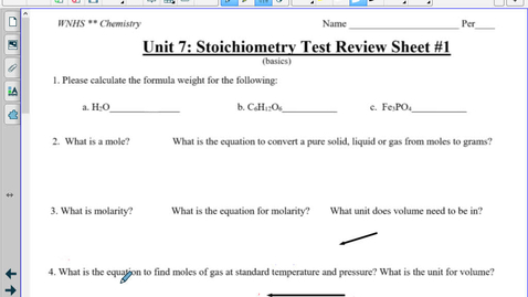 Thumbnail for entry Unit 7 : Stoich Review WS #1 LIVING ANSWER KEY