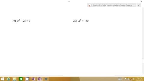 Thumbnail for entry Algebra 1B Lesson 07 #19-22