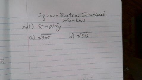 Thumbnail for entry Square Roots as Irrational Numbers