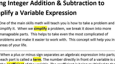 Thumbnail for entry 1-2 Using Integer Addition & Subtraction