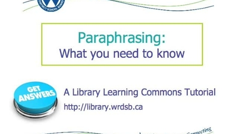 Thumbnail for entry Paraphrasing: What you need to know.