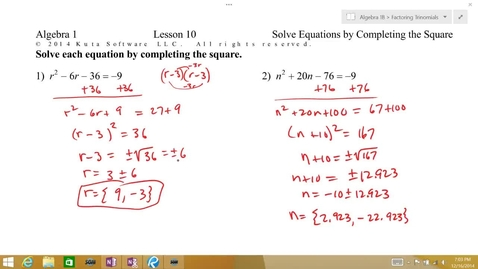 Thumbnail for entry Algebra 1B Lesson 10 #3-4