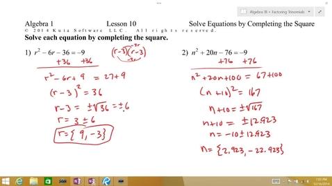 Thumbnail for entry Algebra 1B Lesson 10 #3-4