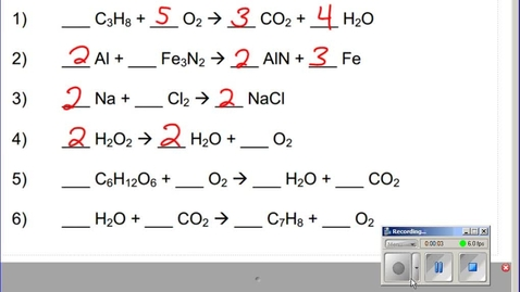 Thumbnail for entry Stephens Chemistry: (12-2-13) More on Writing and Balancing Reactions (Ch10)
