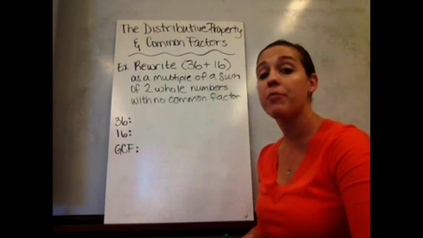 Thumbnail for entry 6th - Sect 6-5A The Distributive Property and Common Factors
