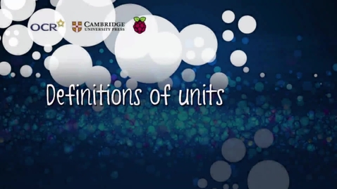 Thumbnail for entry Definitions of units - Part C