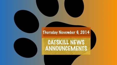 Thumbnail for entry Catskill News Announcements 11.10.14