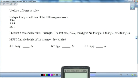 Thumbnail for entry Solving Oblique Triangles with Law of Sines