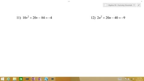 Thumbnail for entry Algebra 1B Lesson 10 #11-12