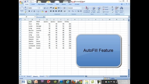 Thumbnail for entry AutoFill Feature in Excel
