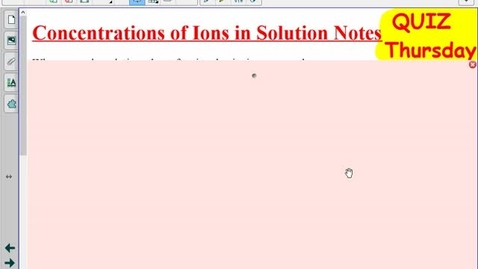 Thumbnail for entry Concentration of Ions in Solution Notes
