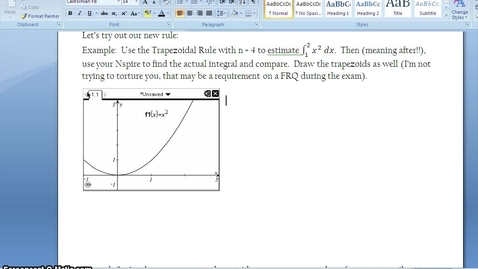Thumbnail for entry C.4.8 - Trapezoidal Rule - Part 2