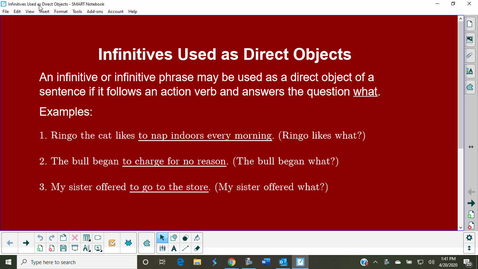 Thumbnail for entry Infinitives Used as Direct Objects