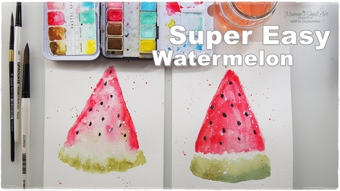 Thumbnail for entry Super Easy Beginners Watercolor Watermelon for Kids ♡ Maremi's Small Art ♡