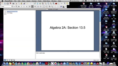 Thumbnail for entry Algebra 2A Section 13.5