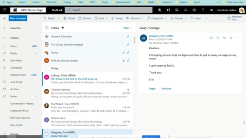 Thumbnail for entry Automatic Replies in Outlook Email