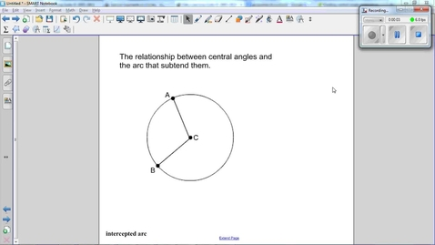Thumbnail for entry Special Angles and Arcs in Circles, the central angle and the arc that subtends it.