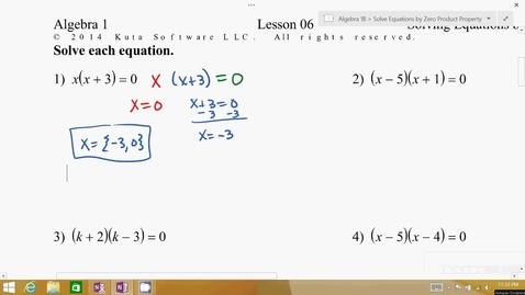 Thumbnail for entry Algebra 1B Lesson 06 #1-10