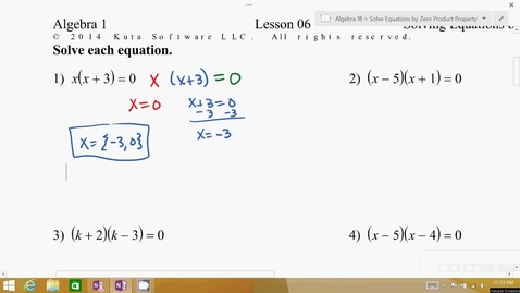 Thumbnail for entry Algebra 1B Lesson 06 #1-10
