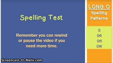 Thumbnail for entry 3.3- Long O Spelling Test