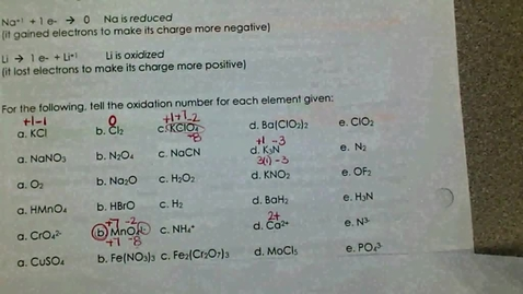 Thumbnail for entry Assigning Oxidation Numbers - Compounds With Subscripts