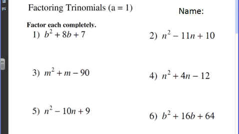 Thumbnail for entry Factoring Trinomials.avi