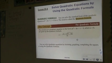 Thumbnail for entry Alg Lesson 10-4 The Quadratic Formula