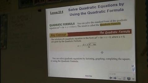 Thumbnail for entry Alg Lesson 10-4 The Quadratic Formula