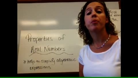 Thumbnail for entry Algebra I - Sect 1-9 Properties of Real Numbers
